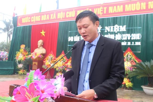Đ/c Hồ Quang Tuấn - PBT Đảng uỷ, Chủ tịch UBND xã phát biểu diễn văn buổi lễ